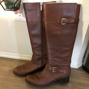 Genuine Cognac Leather Riding Boots